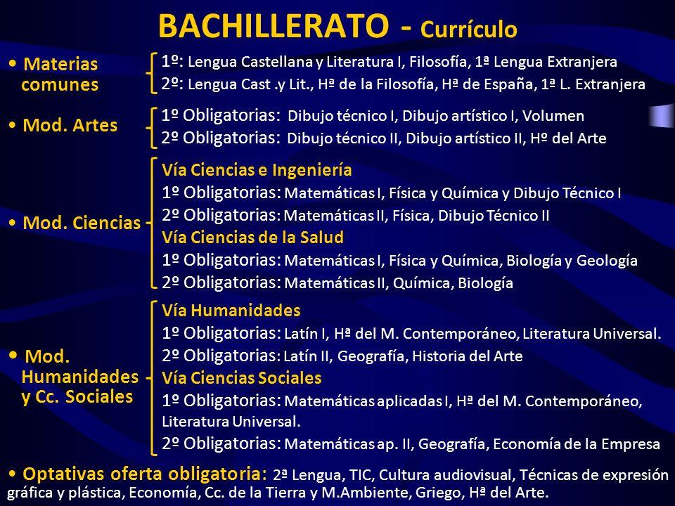 BACHILLERATO - Currículo Materias comunes Mod. Artes Mod. Ciencias Mod. Humanidades y Cc. Sociales Optativas oferta obligatoria: 2ª Lengua, TIC, Cultu