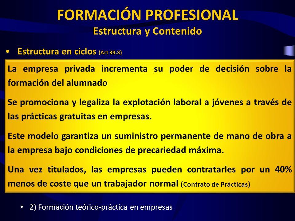 FORMACIÓN PROFESIONAL Estructura y Contenido Estructura en ciclos (Art 39.3) FP Básica, Grado Medio y Grado Superior Organización de la oferta Se rige