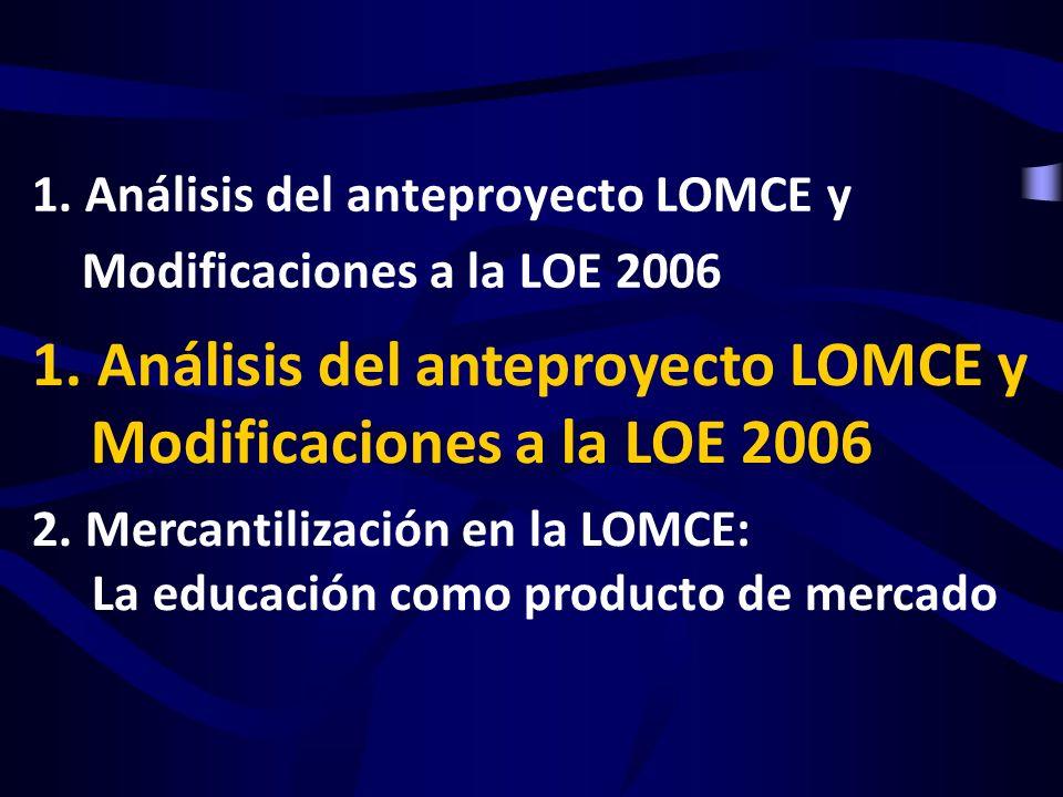 1. Análisis del anteproyecto LOMCE y Modificaciones a la LOE 2006 2. Mercantilización en la LOMCE: La educación como producto de mercado 1. Análisis d