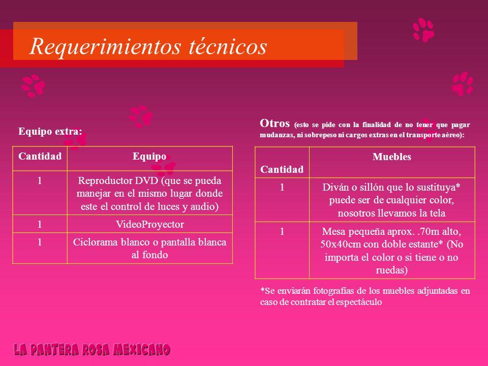 Requerimientos técnicos Equipo extra: CantidadEquipo 1Reproductor DVD (que se pueda manejar en el mismo lugar donde este el control de luces y audio)