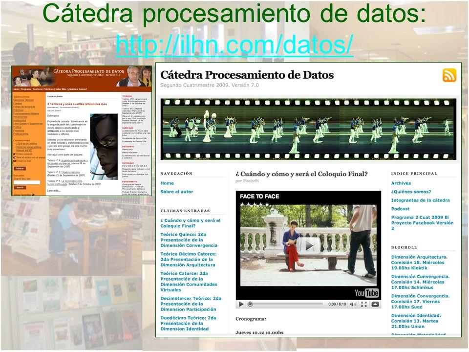Cátedra procesamiento de datos: http://ilhn.com/datos/ http://ilhn.com/datos/