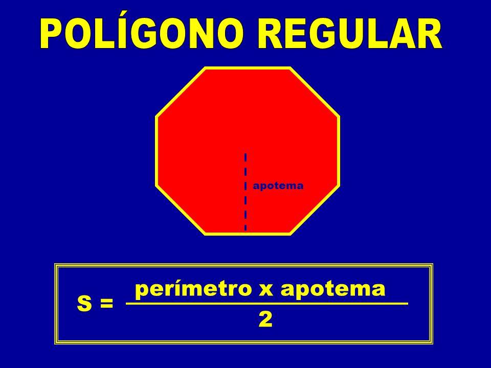 S = perímetro x apotema 2 apotema