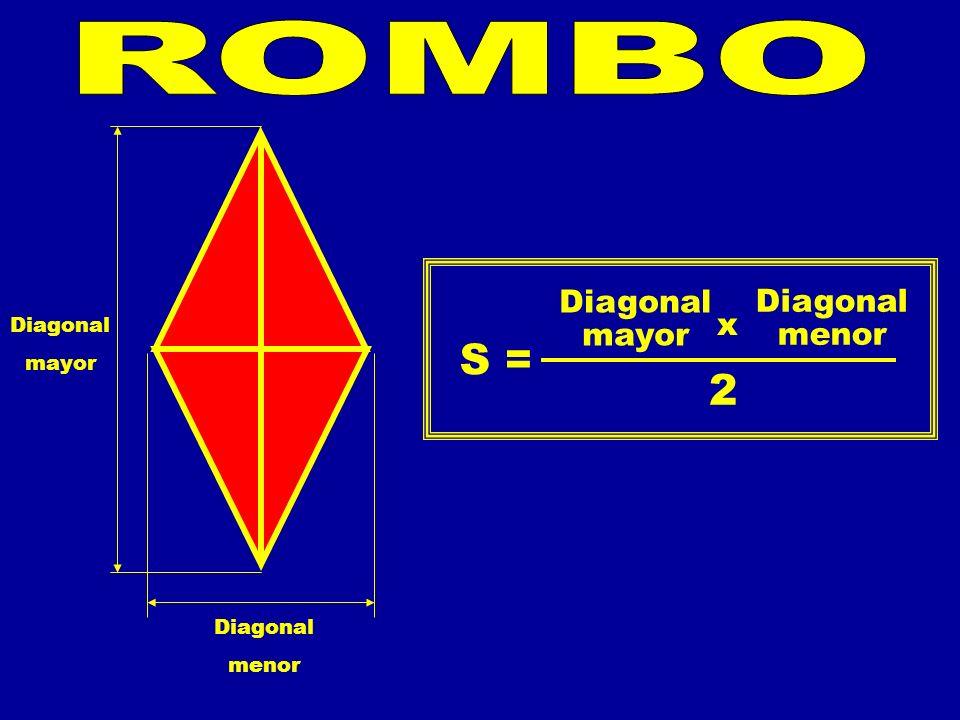 Diagonal mayor Diagonal menor S = 2 Diagonal mayor Diagonal menor x