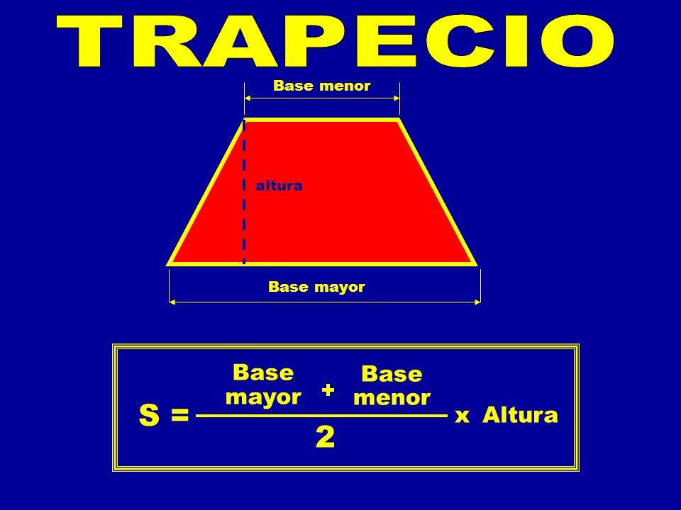 Base mayor Base menor altura S = 2 Base mayor Base menor + xAltura