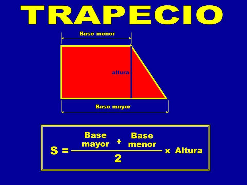 S = 2 Base mayor Base menor + xAltura Base mayor Base menor altura