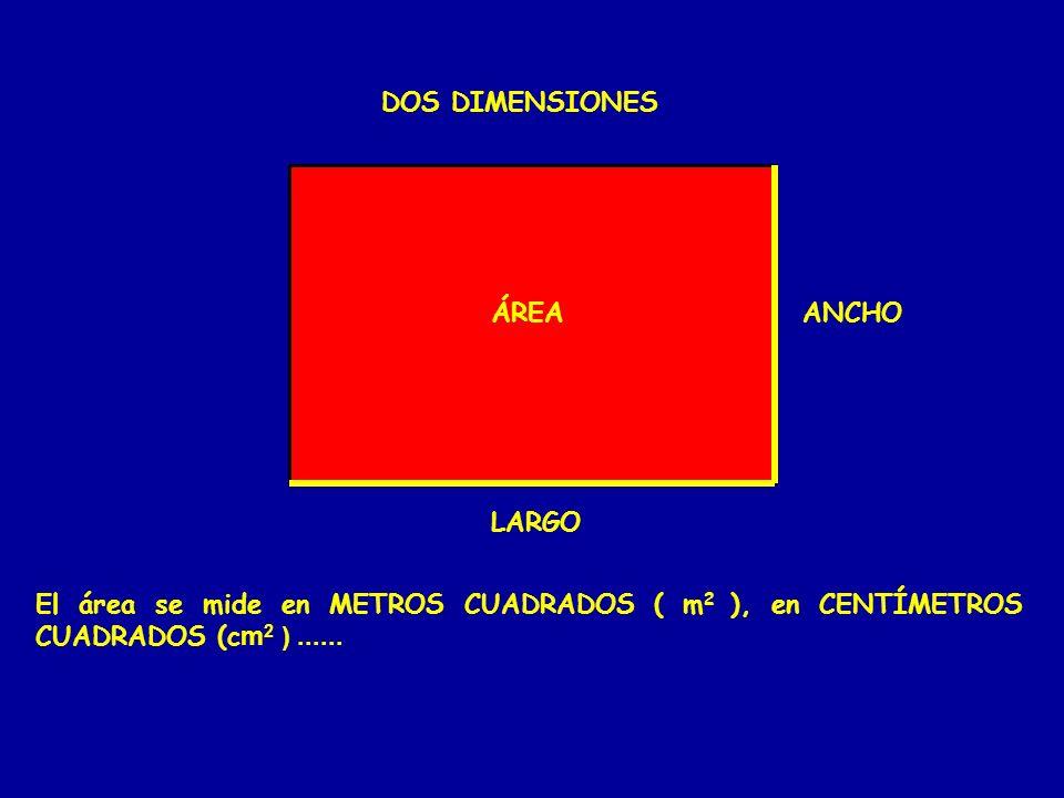 DOS DIMENSIONES LARGO ANCHOÁREA El área se mide en METROS CUADRADOS ( m 2 ), en CENTÍMETROS CUADRADOS (c m 2 )......