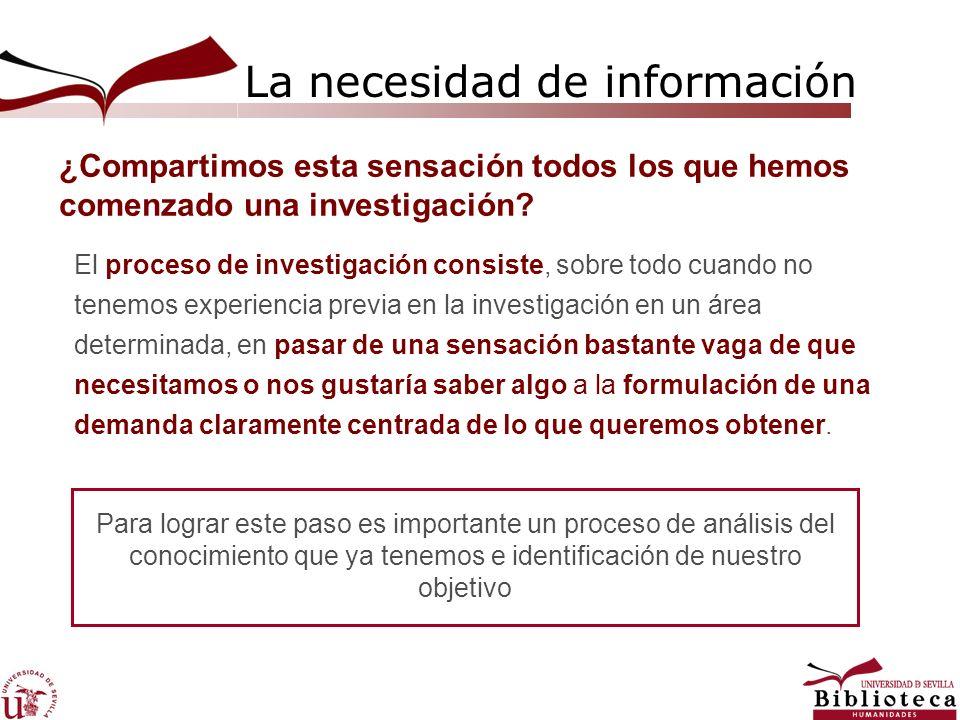 La necesidad de información Como paso previo en cualquier proceso de búsqueda, debemos determinar la naturaleza y nivel de la información que necesitamos Definir el trabajo que queremos realizar