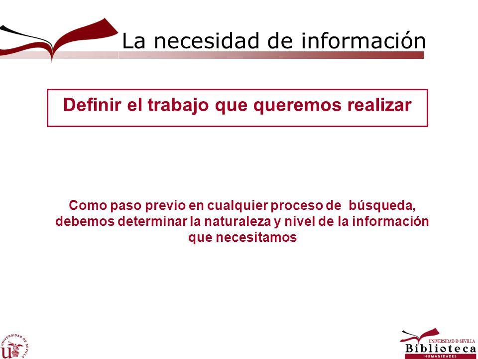 La necesidad de información Como paso previo en cualquier proceso de búsqueda, debemos determinar la naturaleza y nivel de la información que necesita