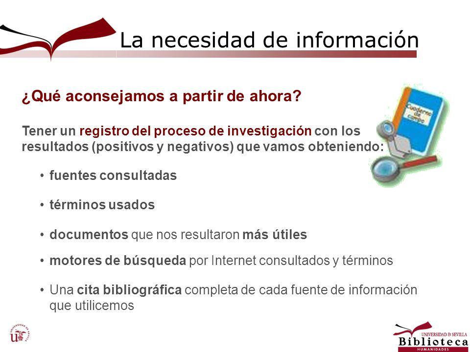 La necesidad de información ¿Qué aconsejamos a partir de ahora? fuentes consultadas términos usados documentos que nos resultaron más útiles motores d