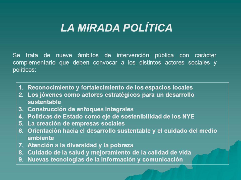 Se trata de nueve ámbitos de intervención pública con carácter complementario que deben convocar a los distintos actores sociales y políticos: 1.Recon