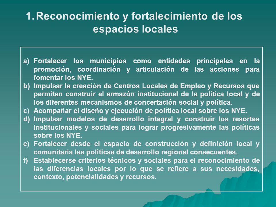 1.Reconocimiento y fortalecimiento de los espacios locales a)Fortalecer los municipios como entidades principales en la promoción, coordinación y arti