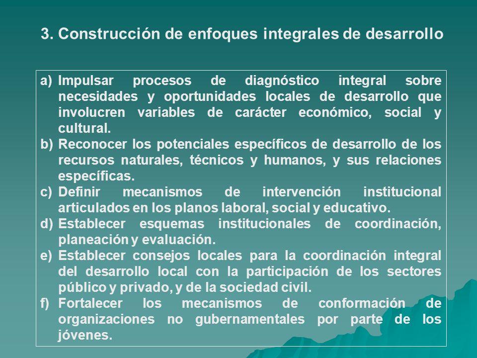 3. Construcción de enfoques integrales de desarrollo a)Impulsar procesos de diagnóstico integral sobre necesidades y oportunidades locales de desarrol