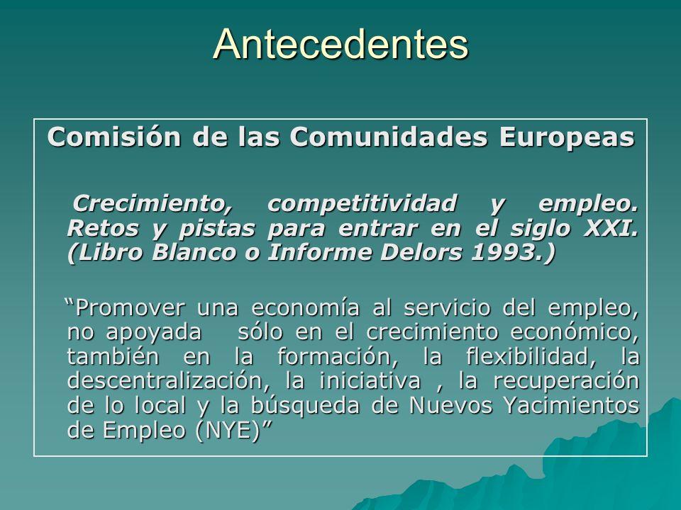 Antecedentes Comisión de las Comunidades Europeas Crecimiento, competitividad y empleo. Retos y pistas para entrar en el siglo XXI. (Libro Blanco o In