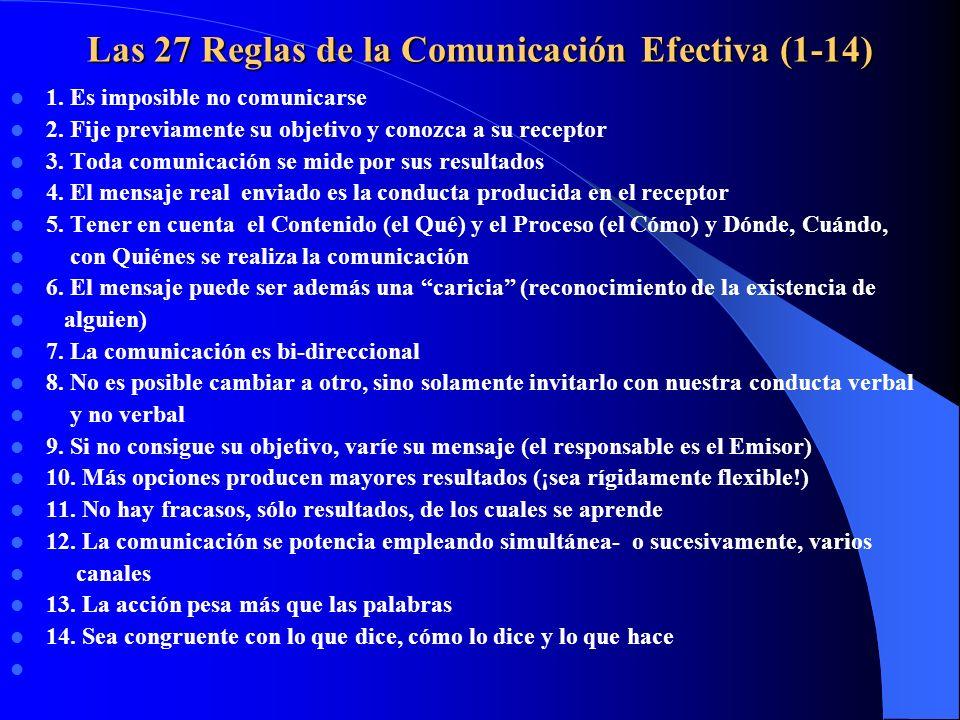 Las 27 Reglas de la Comunicación Efectiva (1-14) 1. Es imposible no comunicarse 2. Fije previamente su objetivo y conozca a su receptor 3. Toda comuni