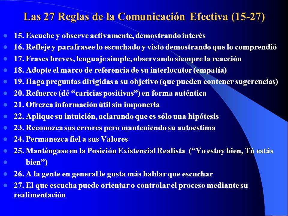 Las 27 Reglas de la Comunicación Efectiva (15-27) 15. Escuche y observe activamente, demostrando interés 16. Refleje y parafrasee lo escuchado y visto