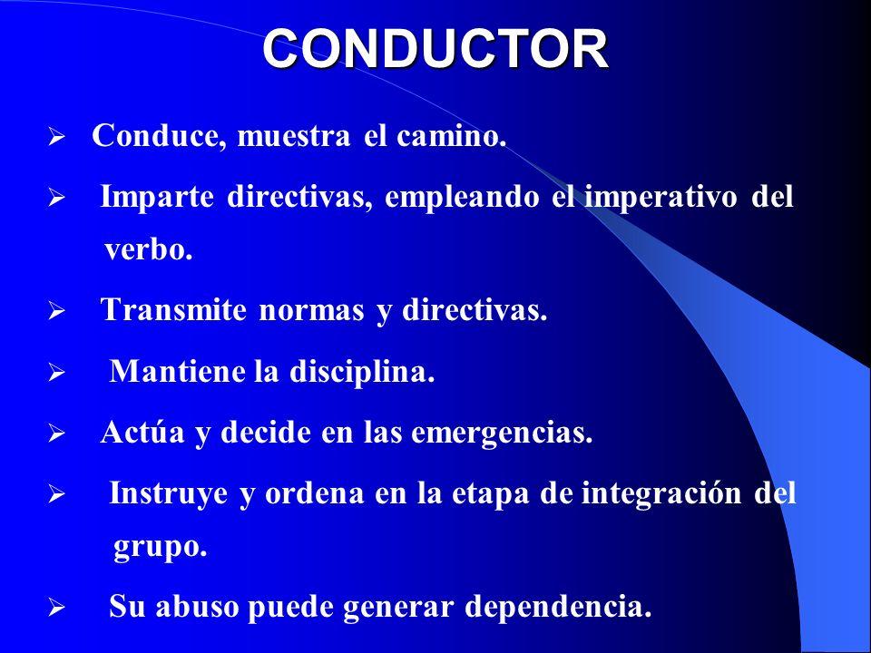 CONDUCTOR Conduce, muestra el camino. Imparte directivas, empleando el imperativo del verbo. Transmite normas y directivas. Mantiene la disciplina. Ac
