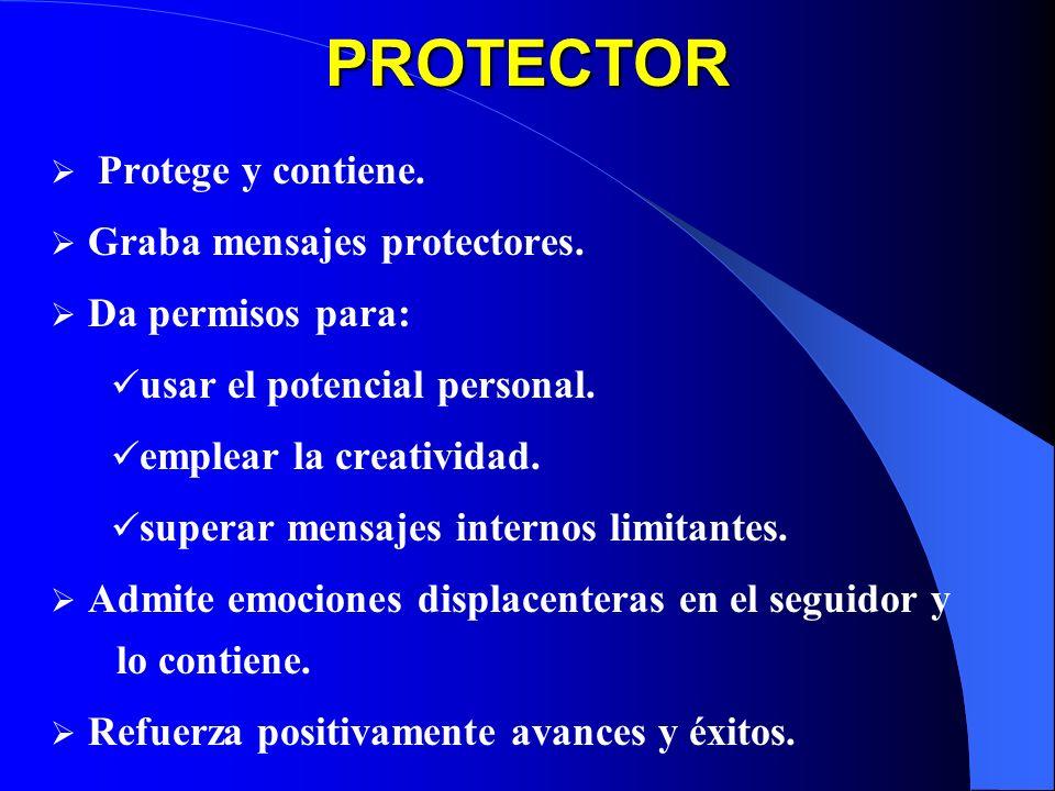 PROTECTOR Protege y contiene. Graba mensajes protectores. Da permisos para: usar el potencial personal. emplear la creatividad. superar mensajes inter