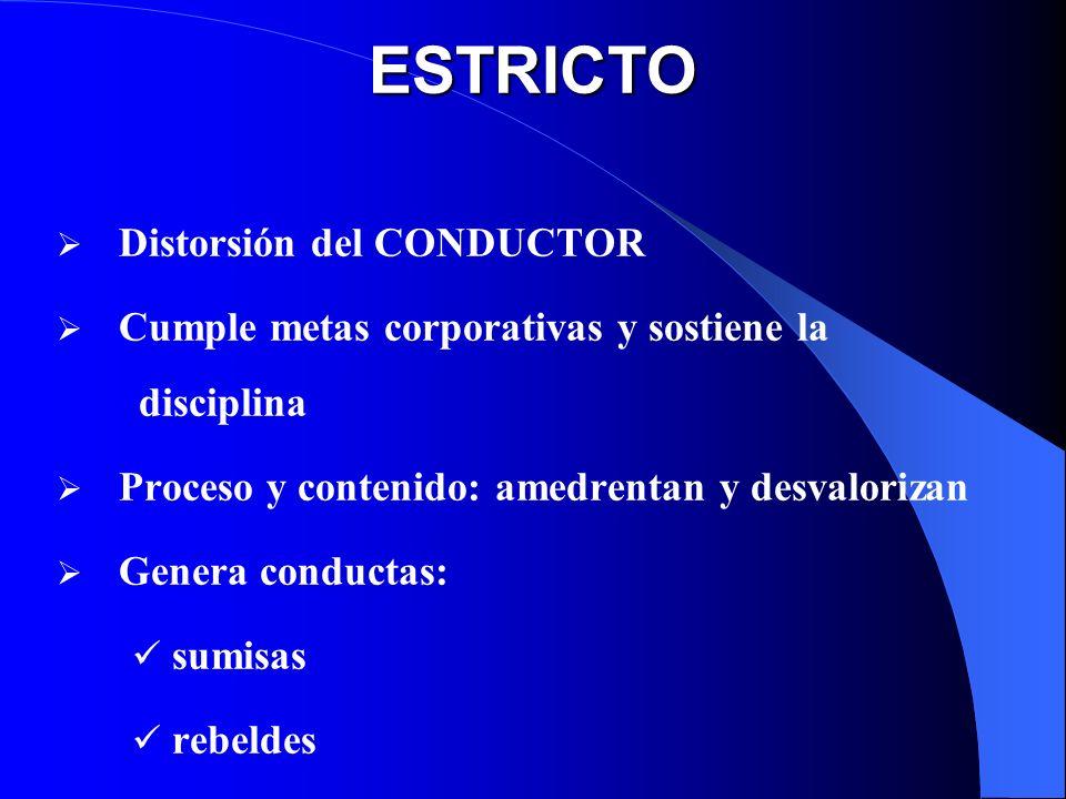 ESTRICTO Distorsión del CONDUCTOR Cumple metas corporativas y sostiene la disciplina Proceso y contenido: amedrentan y desvalorizan Genera conductas: sumisas rebeldes