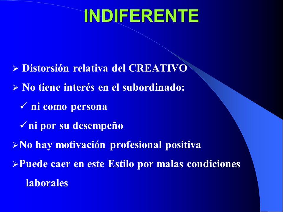 INDIFERENTE Distorsión relativa del CREATIVO No tiene interés en el subordinado: ni como persona ni por su desempeño No hay motivación profesional pos