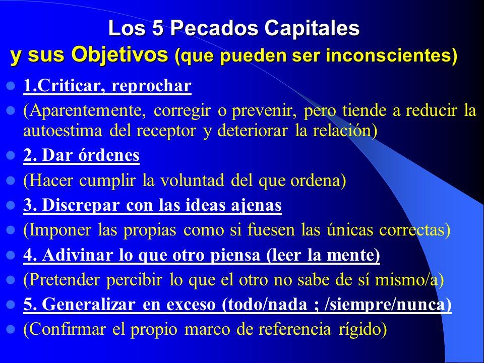 Los 5 Pecados Capitales y sus Objetivos (que pueden ser inconscientes) 1.Criticar, reprochar (Aparentemente, corregir o prevenir, pero tiende a reducir la autoestima del receptor y deteriorar la relación) 2.