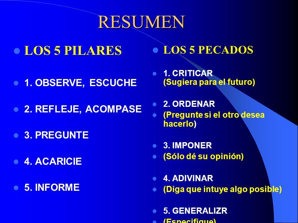 RESUMEN LOS 5 PILARES 1. OBSERVE, ESCUCHE 2. REFLEJE, ACOMPASE 3. PREGUNTE 4. ACARICIE 5. INFORME LOS 5 PECADOS 1. CRITICAR (Sugiera para el futuro) 2