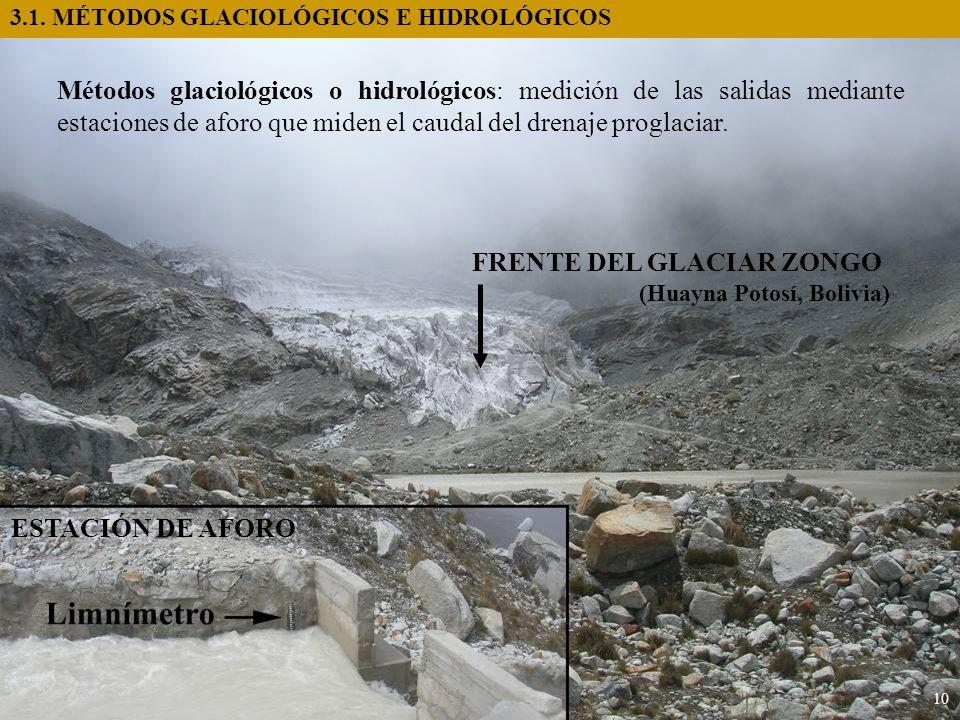 3.1. MÉTODOS GLACIOLÓGICOS E HIDROLÓGICOS 10 Métodos glaciológicos o hidrológicos: medición de las salidas mediante estaciones de aforo que miden el c