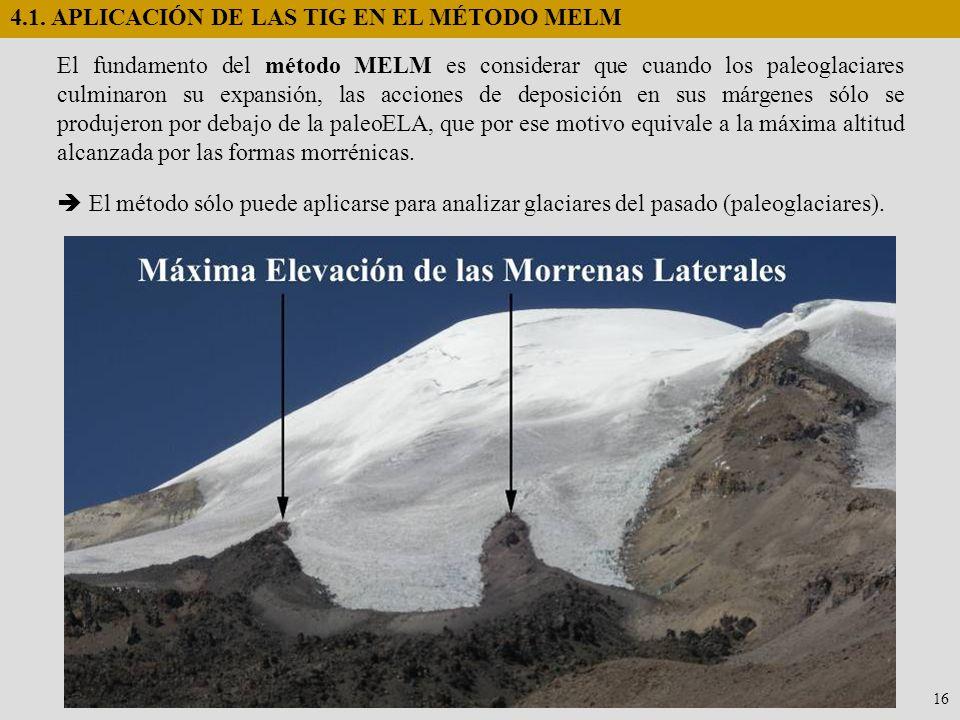 4.1. APLICACIÓN DE LAS TIG EN EL MÉTODO MELM El fundamento del método MELM es considerar que cuando los paleoglaciares culminaron su expansión, las ac