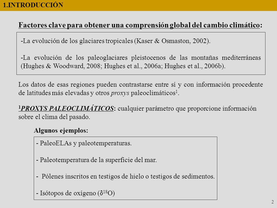 -La evolución de los glaciares tropicales (Kaser & Osmaston, 2002). -La evolución de los paleoglaciares pleistocenos de las montañas mediterráneas (Hu