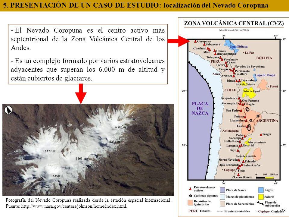 - El Nevado Coropuna es el centro activo más septentrional de la Zona Volcánica Central de los Andes. - Es un complejo formado por varios estratovolca
