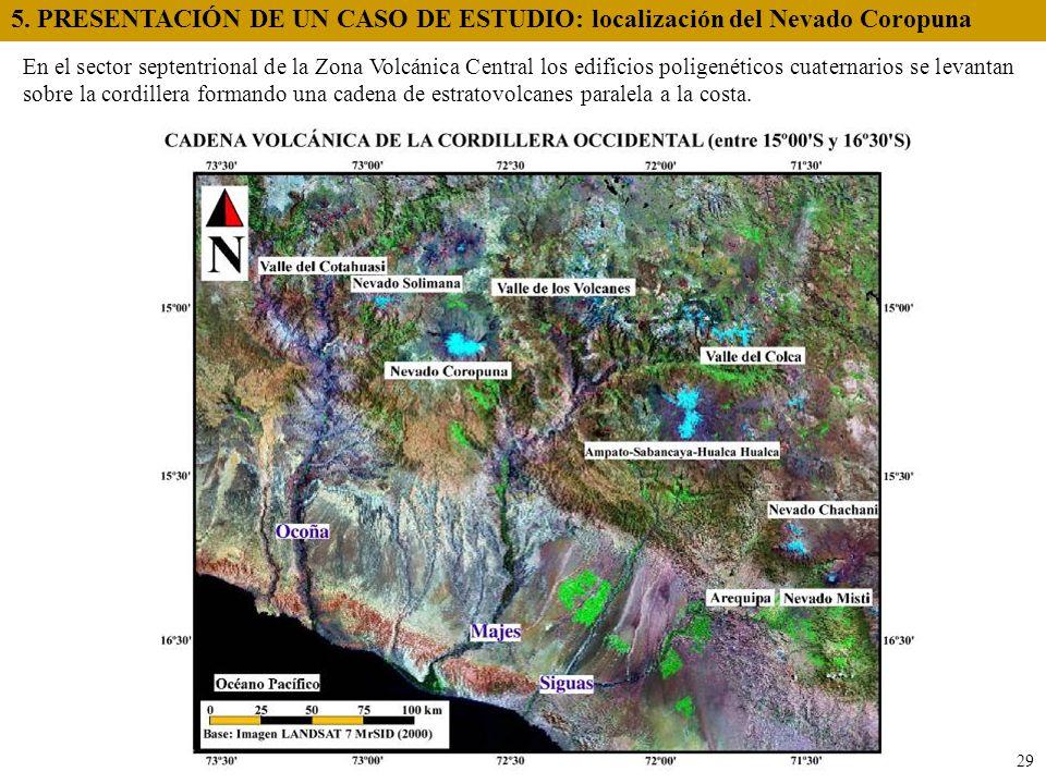 En el sector septentrional de la Zona Volcánica Central los edificios poligenéticos cuaternarios se levantan sobre la cordillera formando una cadena d