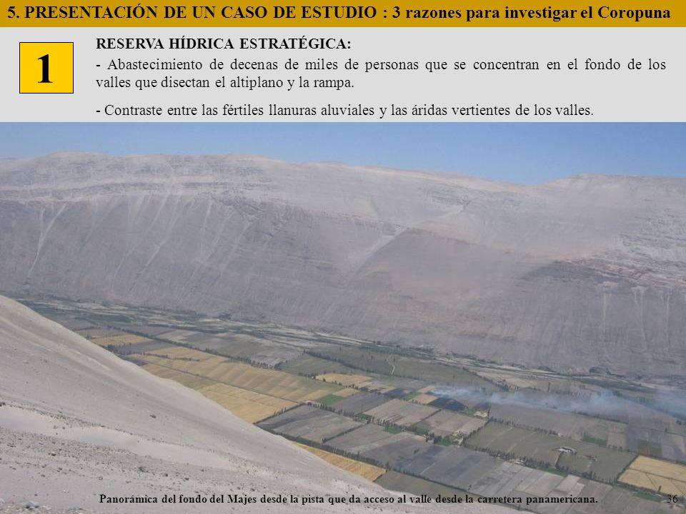 Panorámica del fondo del Majes desde la pista que da acceso al valle desde la carretera panamericana. RESERVA HÍDRICA ESTRATÉGICA: 1 5. PRESENTACIÓN D
