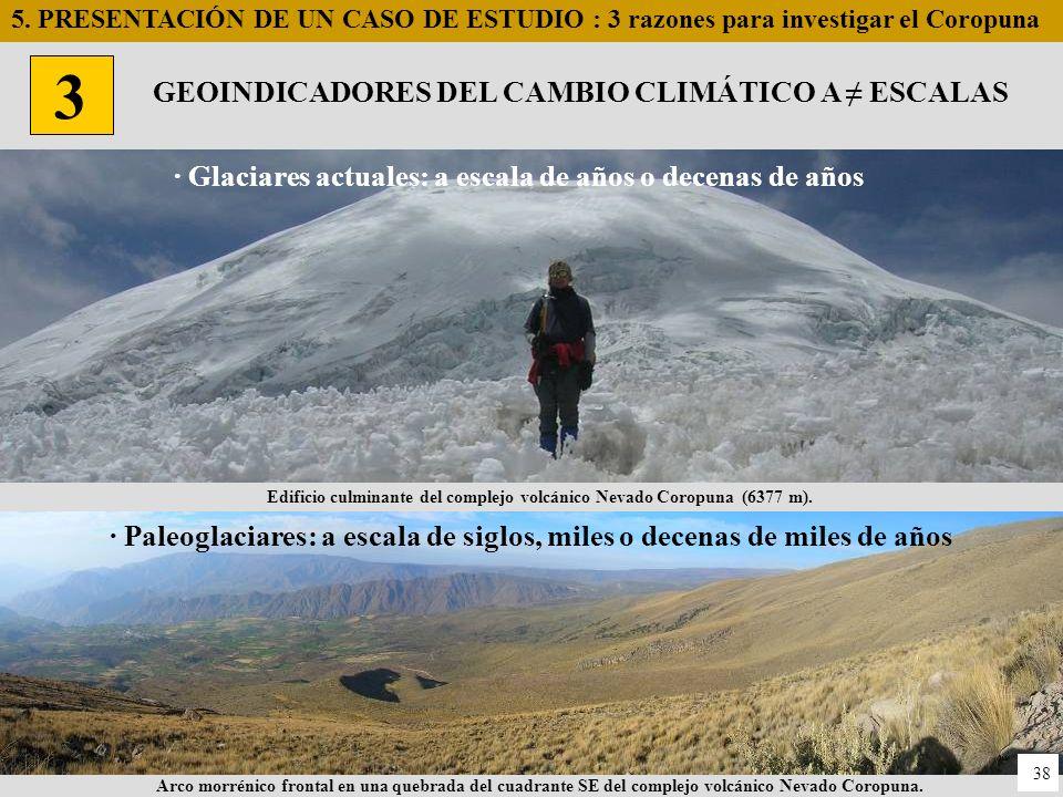 · Paleoglaciares: a escala de siglos, miles o decenas de miles de años · Glaciares actuales: a escala de años o decenas de años Edificio culminante de
