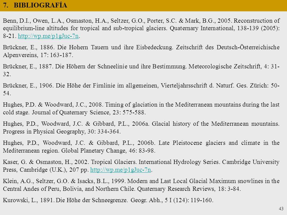 7. BIBLIOGRAFÍA Benn, D.I., Owen, L.A., Osmaston, H.A., Seltzer, G.O., Porter, S.C. & Mark, B.G., 2005. Reconstruction of equilibrium-line altitudes f