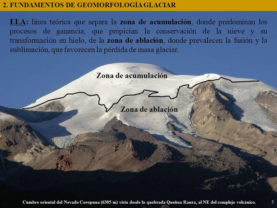 Cumbre oriental del Nevado Coropuna (6305 m) vista desde la quebrada Queñua Ranra, al NE del complejo volcánico. Zona de acumulación Zona de ablación