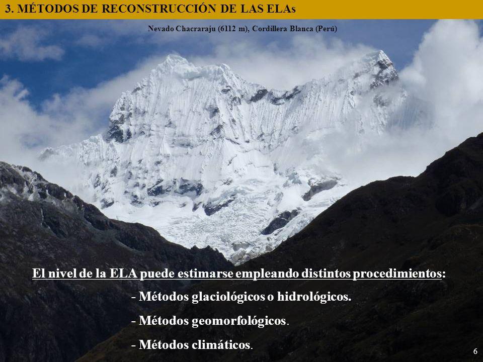 3. MÉTODOS DE RECONSTRUCCIÓN DE LAS ELAs 6 El nivel de la ELA puede estimarse empleando distintos procedimientos: - Métodos glaciológicos o hidrológic