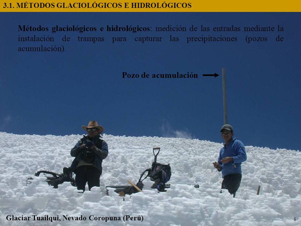 Métodos glaciológicos e hidrológicos: medición de las entradas mediante la instalación de trampas para capturar las precipitaciones (pozos de acumulac