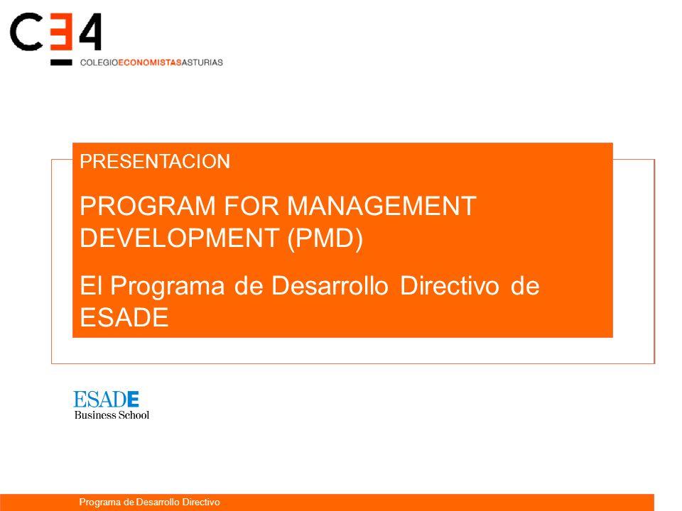 PRESENTACION PROGRAM FOR MANAGEMENT DEVELOPMENT (PMD) El Programa de Desarrollo Directivo de ESADE Programa de Desarrollo Directivo