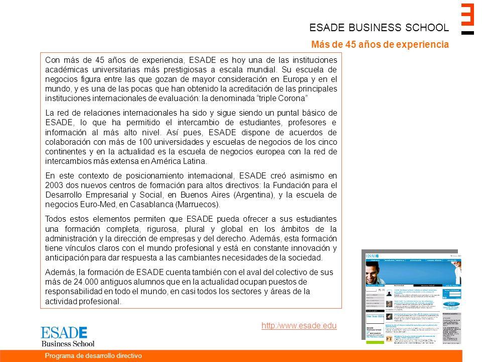 ESADE BUSINESS SCHOOL Más de 45 años de experiencia Con más de 45 años de experiencia, ESADE es hoy una de las instituciones académicas universitarias más prestigiosas a escala mundial.