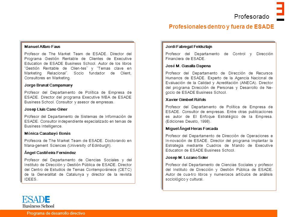 Profesorado Profesionales dentro y fuera de ESADE Manuel Alfaro Faus Profesor de The Market Team de ESADE.
