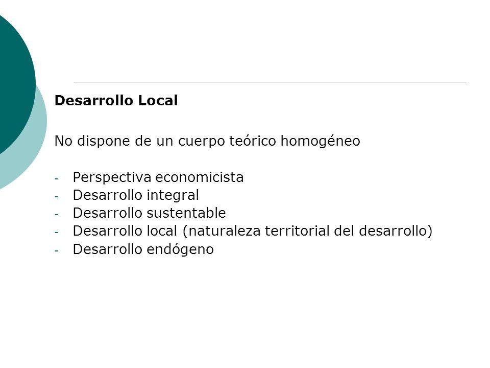 Desarrollo Local No dispone de un cuerpo teórico homogéneo - Perspectiva economicista - Desarrollo integral - Desarrollo sustentable - Desarrollo loca
