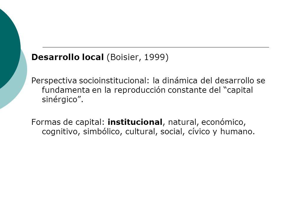 Desarrollo local (Boisier, 1999) Perspectiva socioinstitucional: la dinámica del desarrollo se fundamenta en la reproducción constante del capital sin
