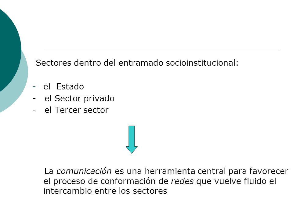 Sectores dentro del entramado socioinstitucional: -el Estado - el Sector privado - el Tercer sector La comunicación es una herramienta central para fa