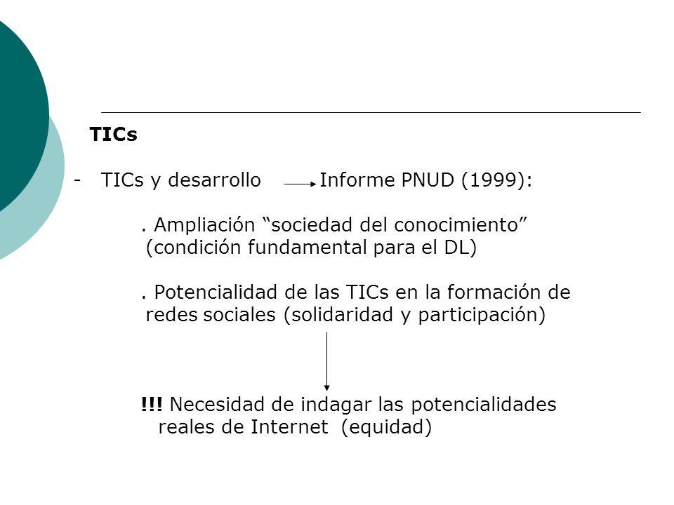 TICs - TICs y desarrollo Informe PNUD (1999):. Ampliación sociedad del conocimiento (condición fundamental para el DL). Potencialidad de las TICs en l