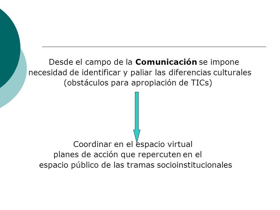 Desde el campo de la Comunicación se impone necesidad de identificar y paliar las diferencias culturales (obstáculos para apropiación de TICs) Coordin