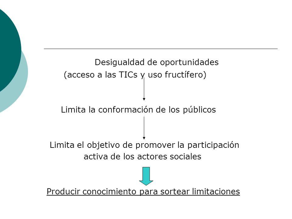 Desigualdad de oportunidades (acceso a las TICs y uso fructífero) Limita la conformación de los públicos Limita el objetivo de promover la participaci