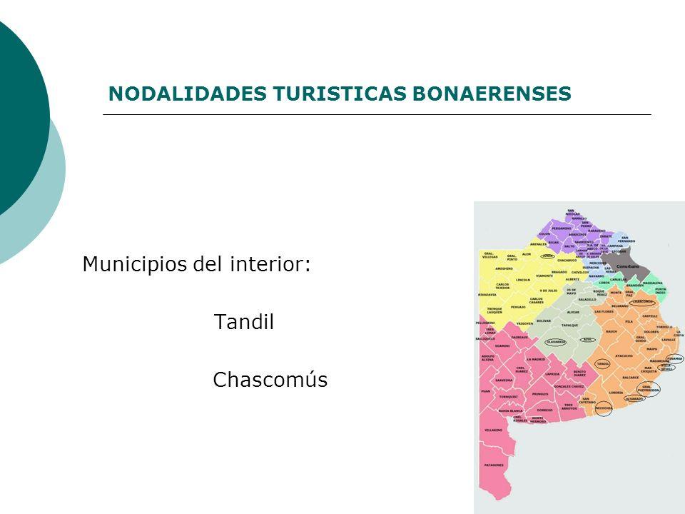 NODALIDADES TURISTICAS BONAERENSES Municipios del interior: Tandil Chascomús