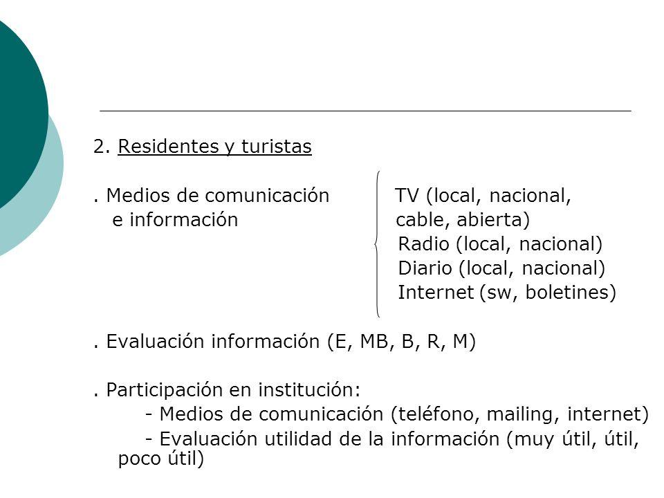 2. Residentes y turistas. Medios de comunicación TV (local, nacional, e información cable, abierta) Radio (local, nacional) Diario (local, nacional) I