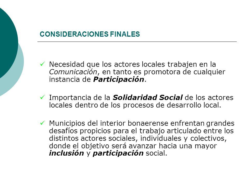 CONSIDERACIONES FINALES Necesidad que los actores locales trabajen en la Comunicación, en tanto es promotora de cualquier instancia de Participación.