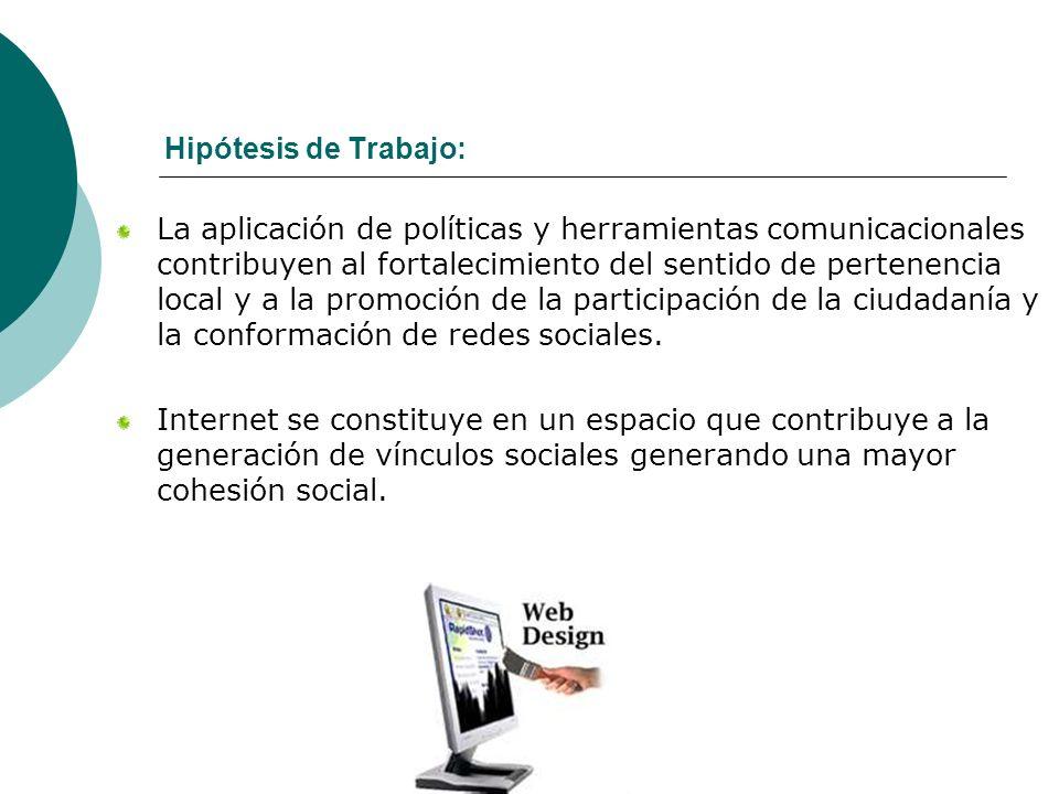 Hipótesis de Trabajo: La aplicación de políticas y herramientas comunicacionales contribuyen al fortalecimiento del sentido de pertenencia local y a l