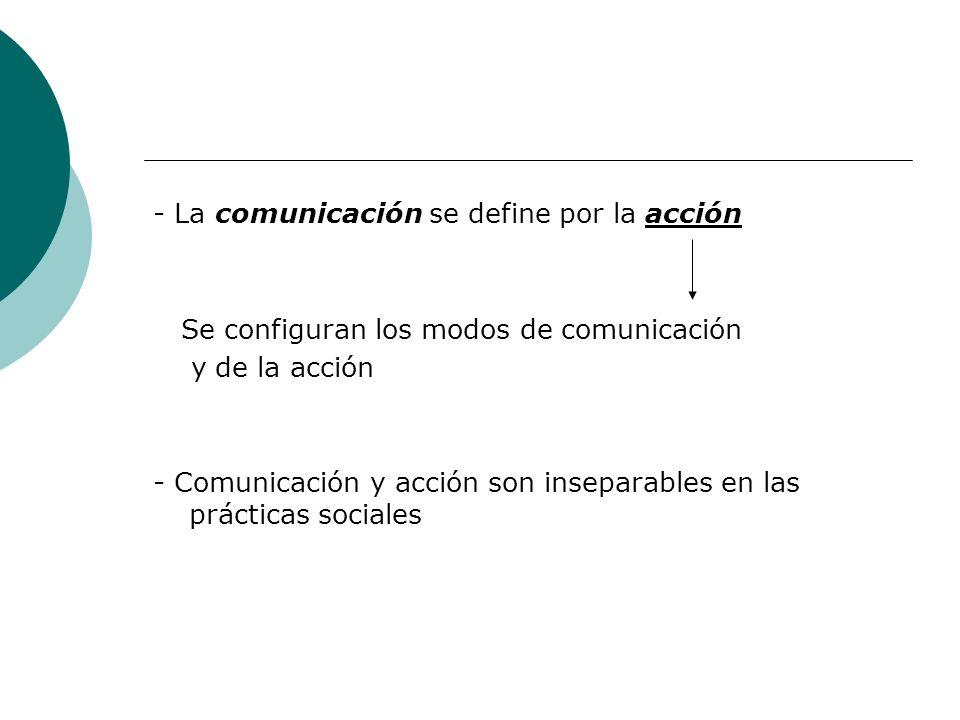 - La comunicación se define por la acción Se configuran los modos de comunicación y de la acción - Comunicación y acción son inseparables en las práct